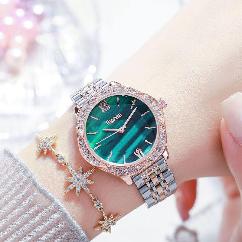 Women Wrist Watch 2020 Rose Gold Women Bracelet Diamond Watch For Ladies Flower Steel Female Clock Relogio Feminino Montre Femme enlarge