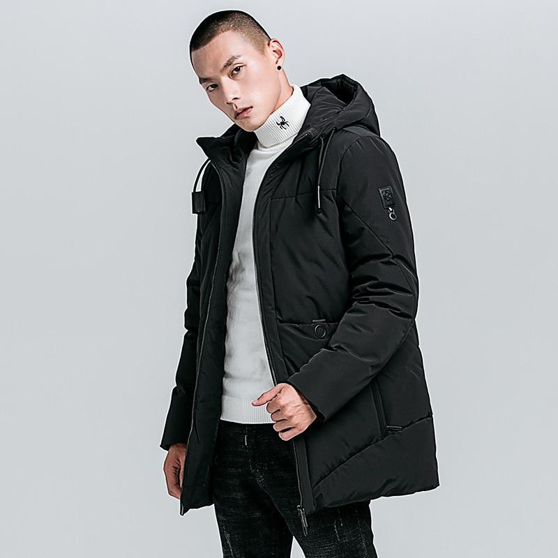 Men's Winter Casual Warm Parkas Jacket Men Fleece Coats Fashion Waterproof Medium Thick Pockets Outwear Parka Men