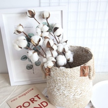 Fake Flowers Home Artificial Decor Naturally Dried Cotton Flowers Artificial Plants Floral Branch for Wedding Party Decor 3pcs