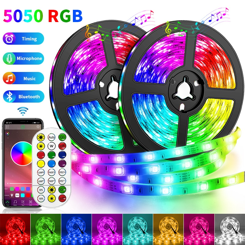 Alexa 5050 LED Strips Light SMD RGB Lamp Ribbon Music Flexible DC TV Tape Waterproof Bluetooth WIFI
