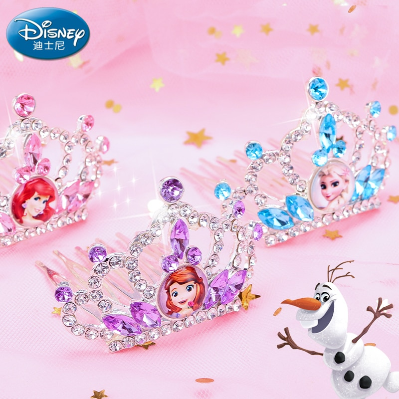Genuine disney princesa congelado anna elsa ariel vestir coroa peruca mágica maquiagem para cosplay brinquedos meninas festa de aniversário decoração