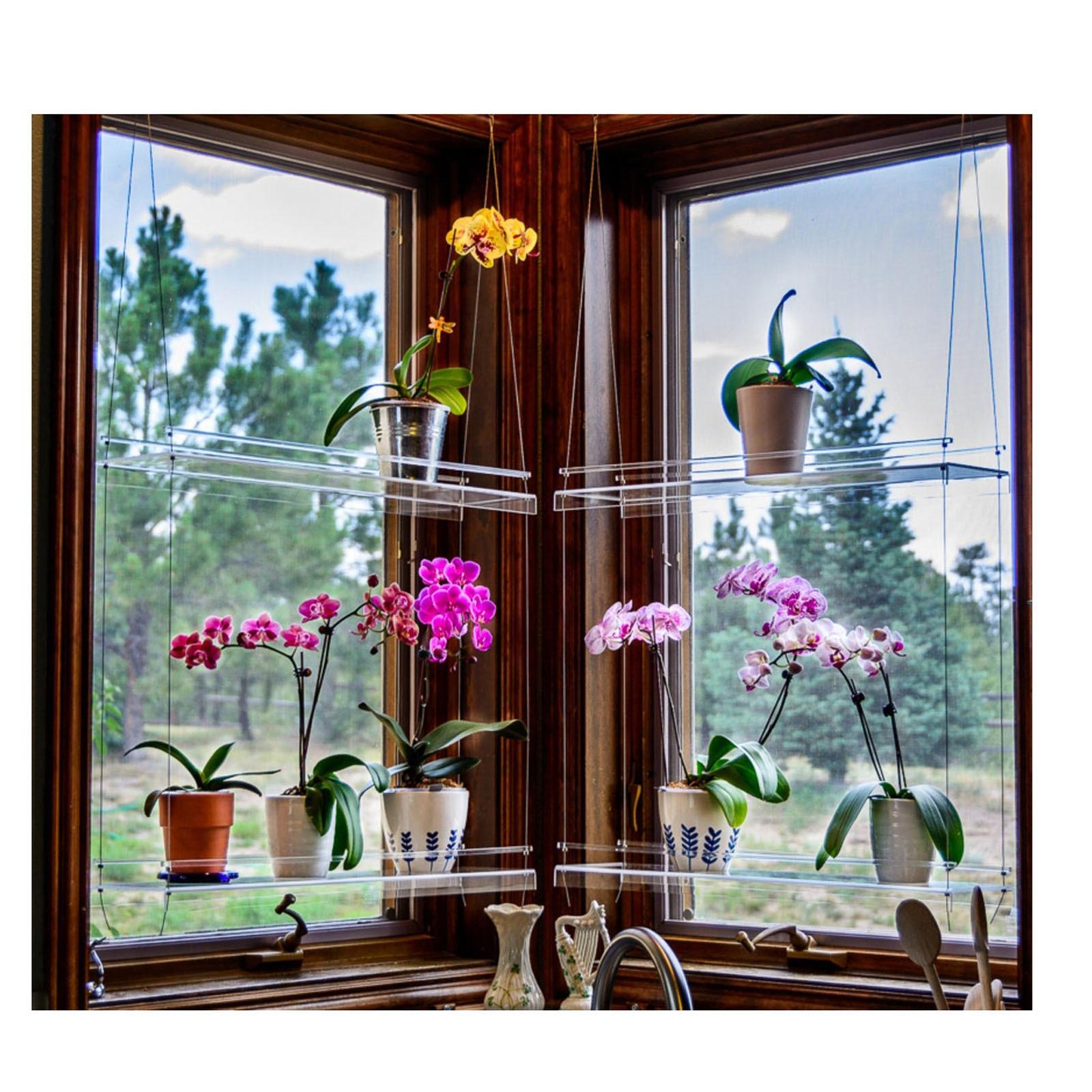 رف للنباتات نافذة الحمام أو المطبخ نافذة النبات الجرف رف معلق رفوف النباتات حامل النبات ديكور حديقة داخلي-0.5
