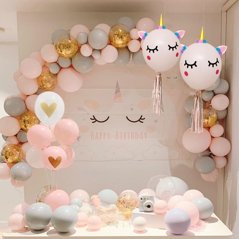 73 unids/set unicornio globo arco kit pastel gris Rosa globo guirnalda decorativa de boda niños fiesta de cumpleaños decoración del Día de San Valentín