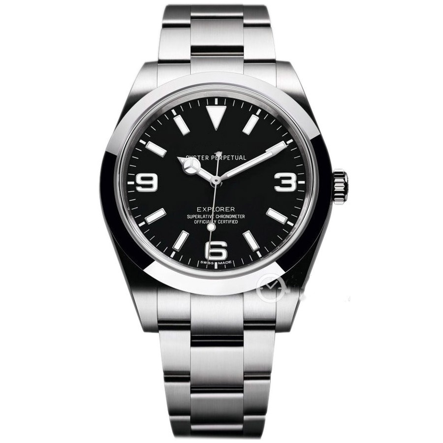 2021 New Automatic Mechanical Mens Sports Watch Black White Number Dial Sapphire Glass Watches DATEJUST Stainless Steel Explorer