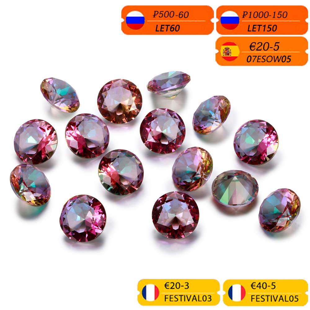 3-8 ct Round Cut Mysterious Rainbow Topaz Created Loose Gemstone Square Stones for Ring Jewelry DIY Gift Accessories 10 Pcs