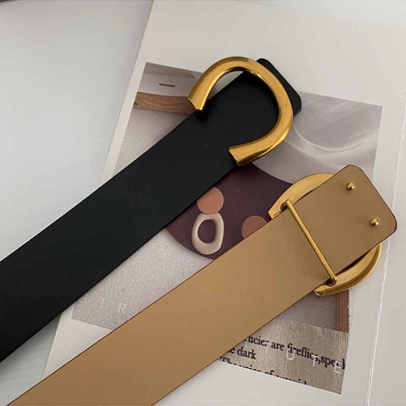 Punk Women Belts Luxury Brand Gold C Buckle Wide High Quality Leather Waist Strap Corset Casual Black Ladies Female  Waistband