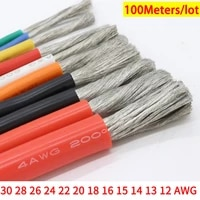 100m 30 28 26 24 22 20 18 16 15 14 13 12 awg heat resistant cable ultra soft silicone wire copper flexible high temperature