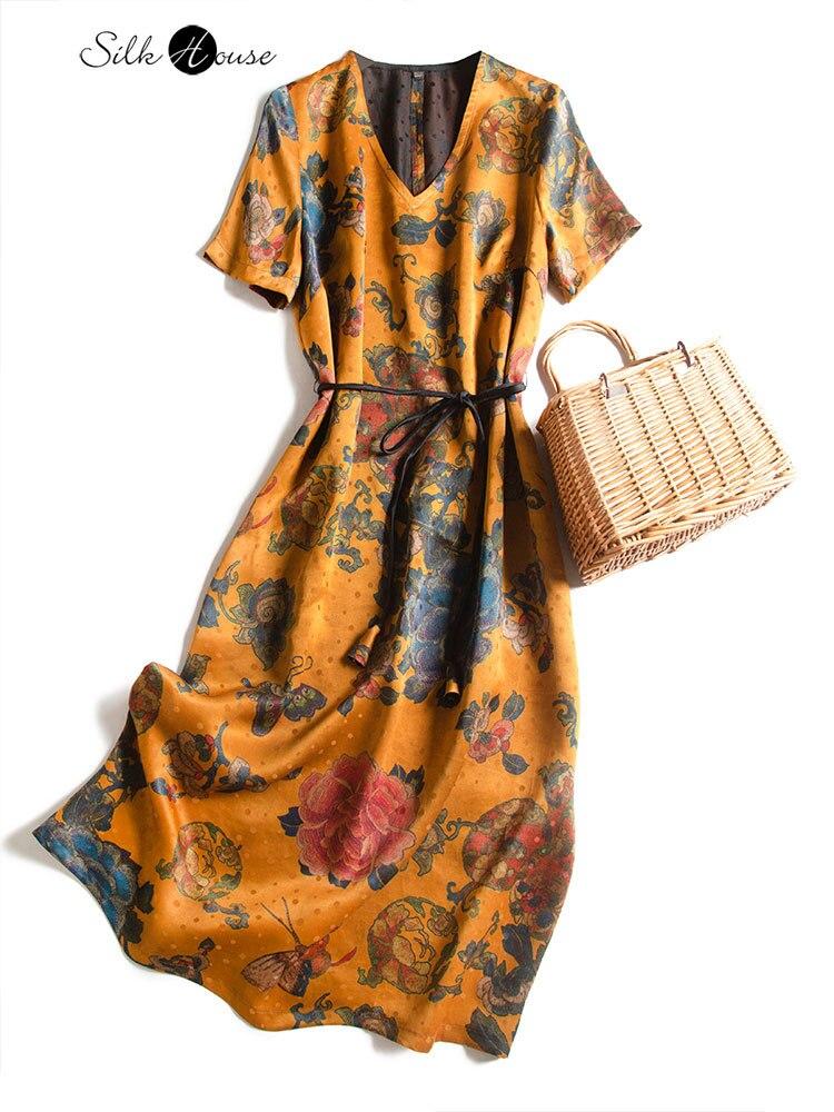 فستان حرير التوت ، موديل خريف 2020 ، مظهر ريترو ، عصري ، نحيف ، مجموعة جديدة