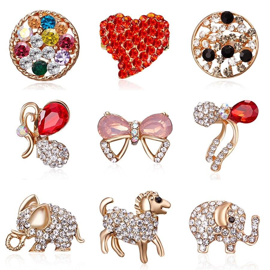 Rinhoo nouvelle mode femmes broche étincelant cristal strass flocon de neige broche de mariage broche Animal cheval éléphant hiver bijoux