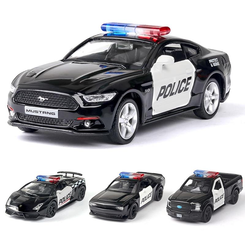 Modèles de voitures de Police en alliage moulé, Challenger 2 portes ouvertes avec fonction de retrait, modèle de voitures de sport en métal, jouets pour enfants, 1/36