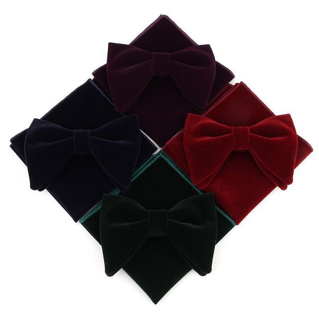Linbaiway Mens Velvet Big Bowtie Handkerchief Set for Men Wedding Dress Necktie Butterfly Pocket Square Towel Set Custom Logo