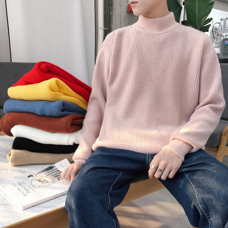 Turtleneck Sweater Men 's Knitted Pullover Long-sleeved M-3XL Men 's Sweater Oversized Solid Color Autumn and Winter Thin Wool aliexpress crew neck linen flower color sweater men s pullover knitted sweater men s wear
