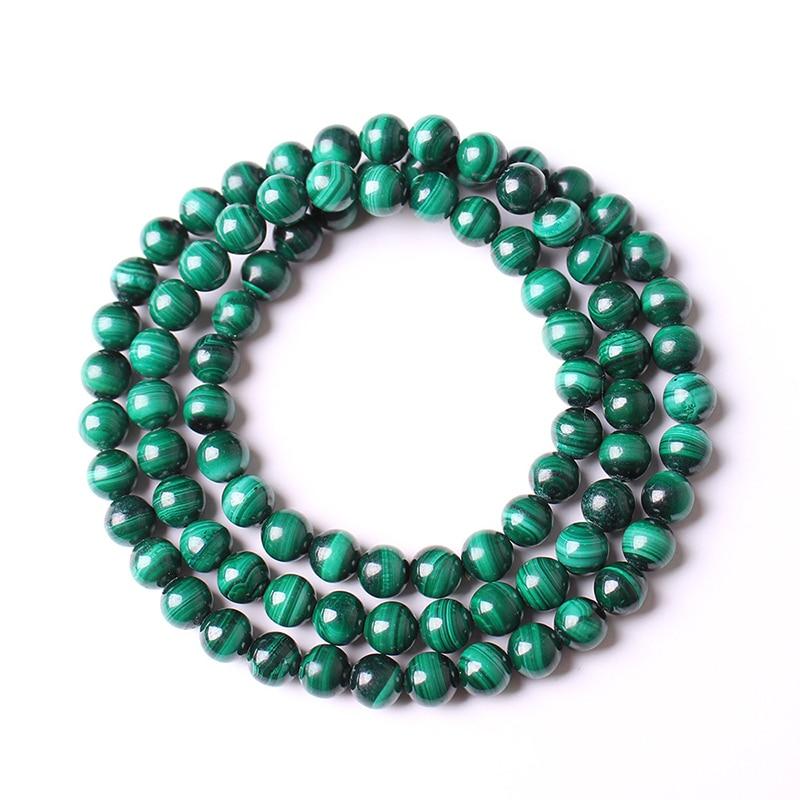 3 camadas de mão pulseira de pulso pulseiras de pedra natural malaquita autêntico 6mm contas redondas pulseiras para mulheres