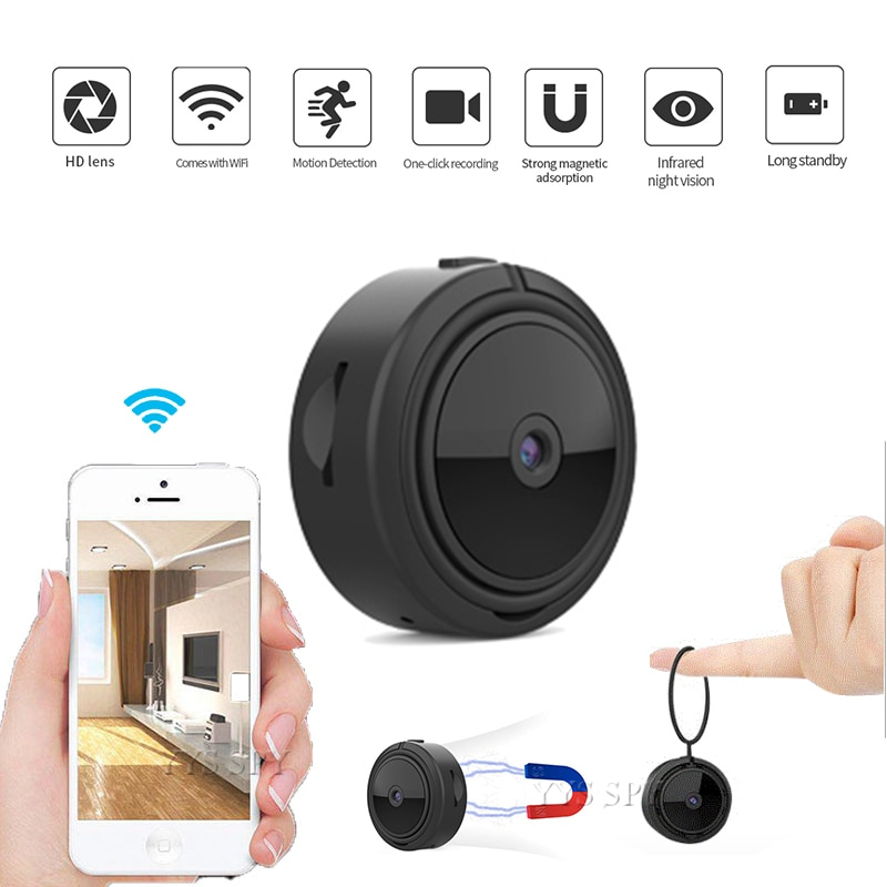 Mini cámara IP inalámbrica con visión nocturna y Sensor de movimiento, 1080P,...