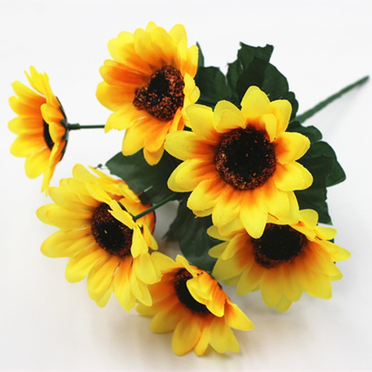 1 rama 7 Uds. Flores de seda girasol cabeza de flor Artificial para boda decoración del hogar Accesorios de cabeza decoración de flores falsas