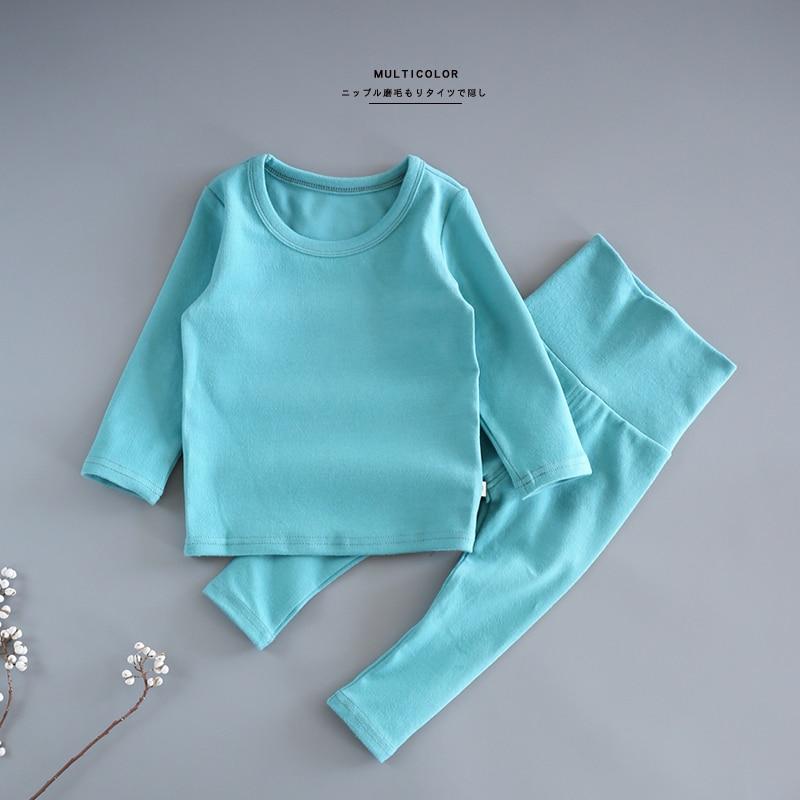 kids clothes Underwear Cotton Unisex Solid Full Round Neck 2 pic a set pajamas boys and girls spring Autumn Underwear