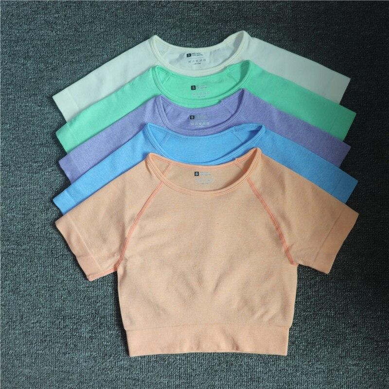 Camisetas de Yoga de manga corta para mujer Top corto de Fitness...