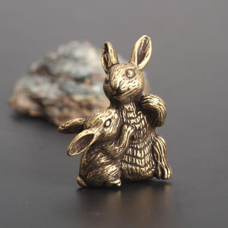 Медная мать ребенок кролики маленькое украшение статуи античная латунь животное скульптура для домашнего декора для гостиной чайный стол украшения