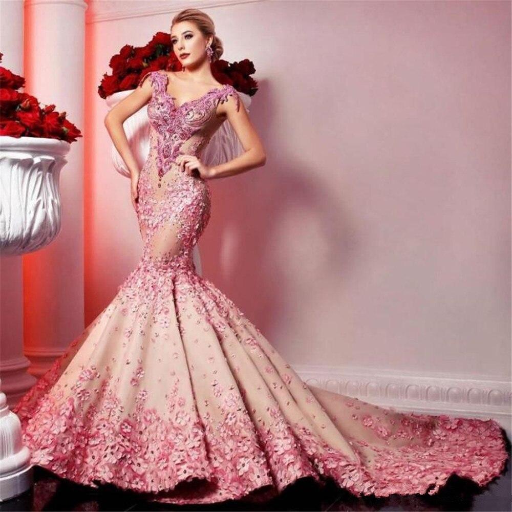 فستان سهرة حورية البحر ، دانتيل ، زهور ، كريستال ، طويل ، ياقة على شكل V ، أكمام كاب ، مع قطار طويل