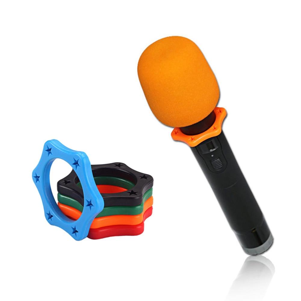 16 pçs plástico macio microfone suporte skidproof círculo mic anel antiderrapante ktv substituição para loja ao ar livre casa (laranja, vermelho)