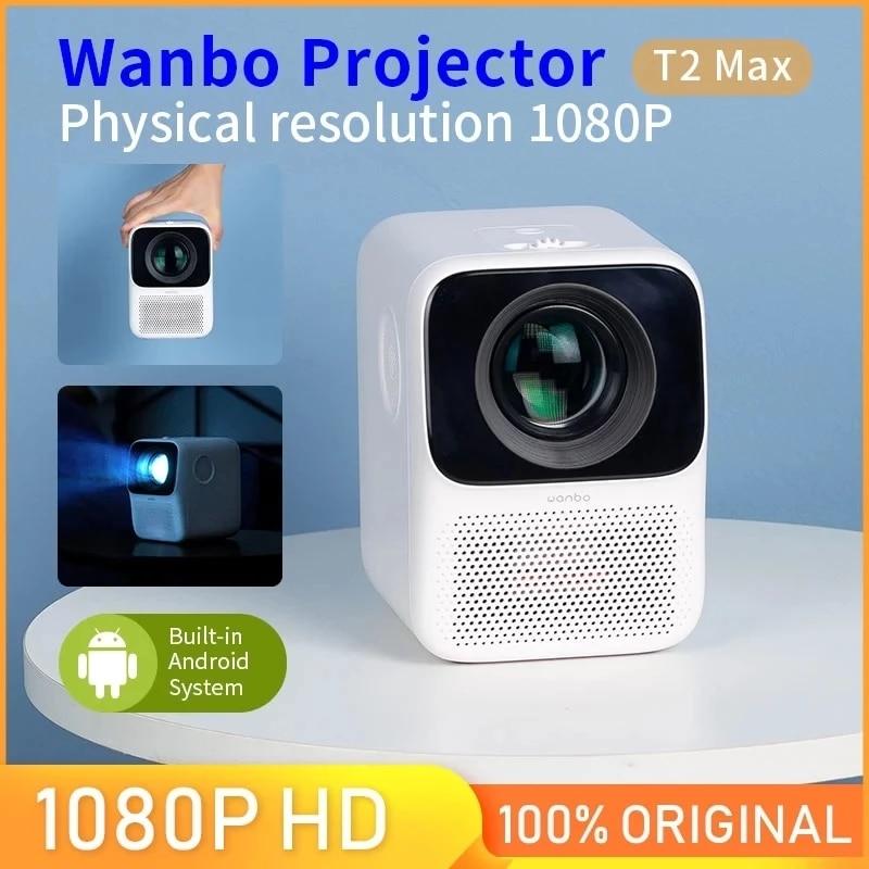 النسخة العالمية وانبو T2 ماكس العارض 1080P مصباح LED صغير محمول العارض 1920*1080P تصحيح حجر الزاوية الرأسي لمكتب المنزل