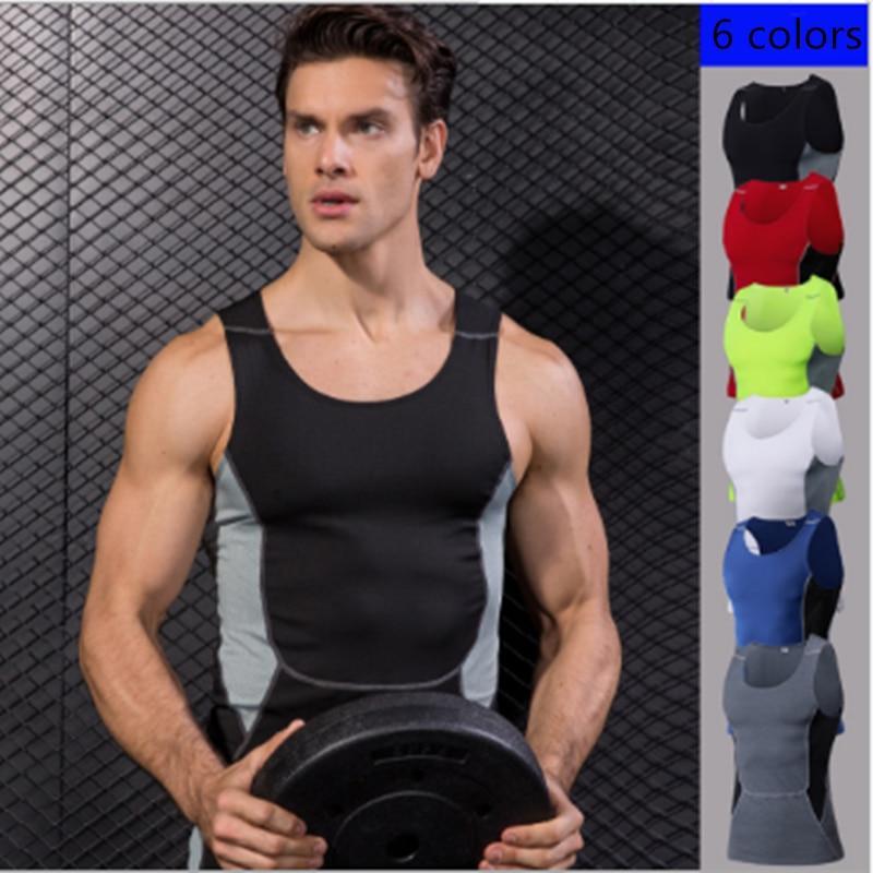Men's Compression Tights Gym Vest Top Quick Dry Sleeveless Sport Shirt Mens Vest Sport Running Sports Vest High Elastic Tank Top