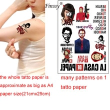 cool spain Tattoo Sticker La Casa De Papel The House of Paper Women Girl Man Temporary Arm Body Art Fans Fake Tattoo Sticker