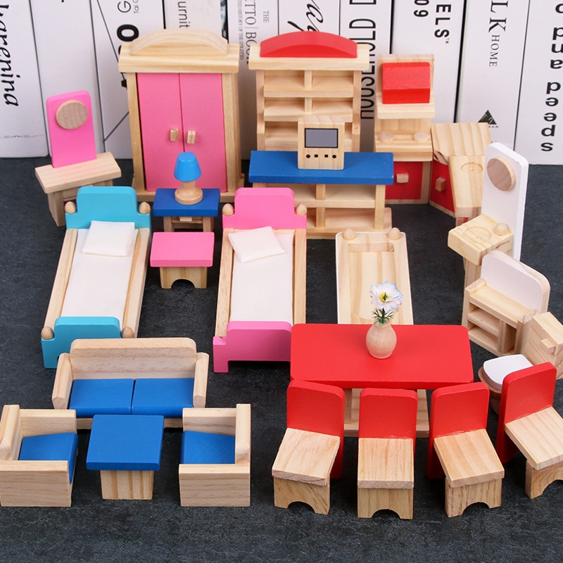 بيت الدمية المصغر للأطفال ، أثاث خشبي ، مجموعات ألعاب للتظاهر ، ألعاب تعليمية ، هدايا للبنات