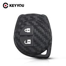KEYYOU – coque de clé en Silicone et Fiber de carbone, pour Suzuki Grand Vitara Swift Liana fenêtre SX4 Jimny Samurai Amagatarai 2 BTN