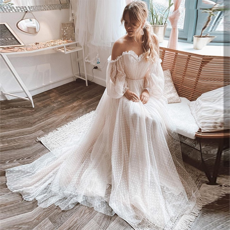 Review MoonlightShadow Lovely Wedding Dresses A-Line Sweetheart Lantern Sleeves Tulle Point Net Cute Bridal Gown Свадебное платье