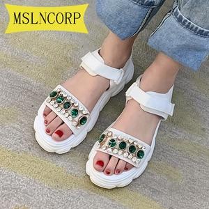 Plus Size 34-46 Fashion Rhinestone Bohemian Sandals Ladies Flat National Style  Women's Shoes Summer Beach Casual Sport Shoes
