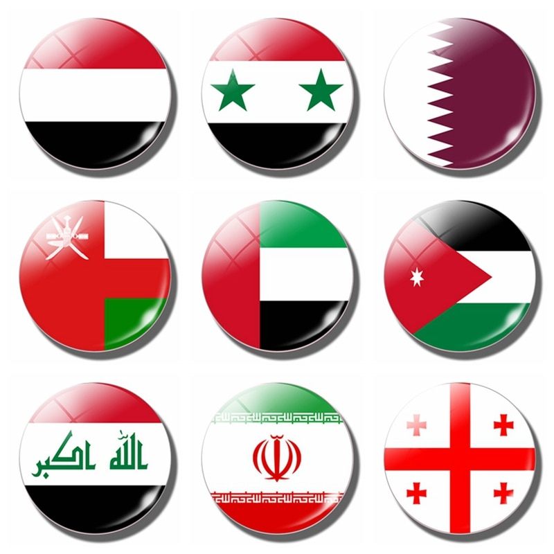 Флаг ОАЭ 30 мм Магнит на Холодильник Стеклянные магнитные наклейки на холодильник Иран Ирак Израиль Иордания Кувейт Азербайджан Ливан Оман Турция