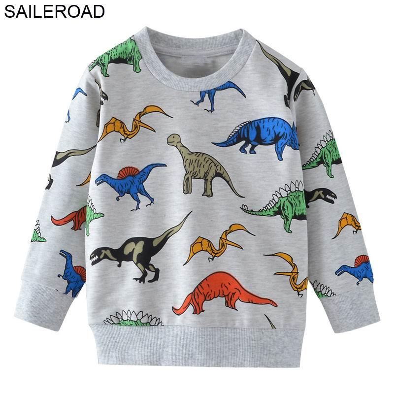 SAILEROAD Dinossauros Dos Desenhos Animados Meninos Camisolas para Crianças Hoodies Crianças Roupas 2-7Years Outono Crianças Camisas de Manga Longa de Algodão