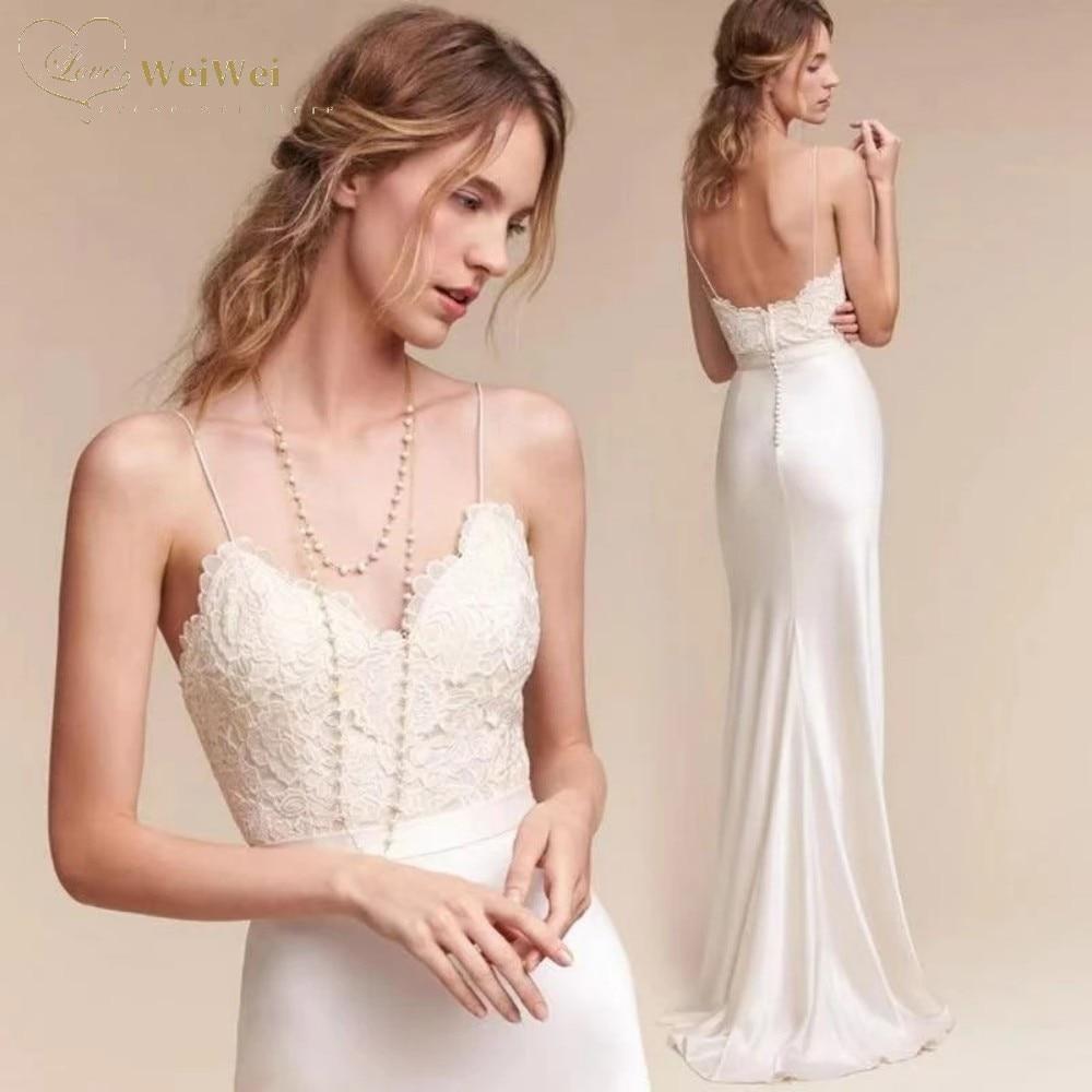 Promo High Quality Slim-Line Wedding Dress V-Neck Sleeveless Spaghetti Straps Length Backless Lace Top Bridal Gowns Vestidos De Novia