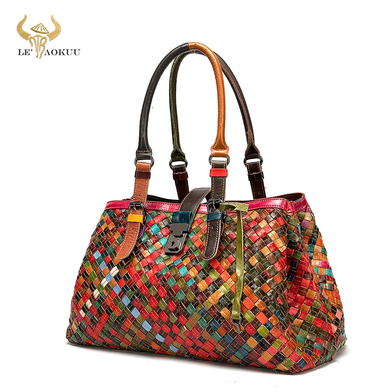New Colorful Quality Leather Famous Luxury Patchwork Large Shopper Purse Handbag Shoulder Bag Women