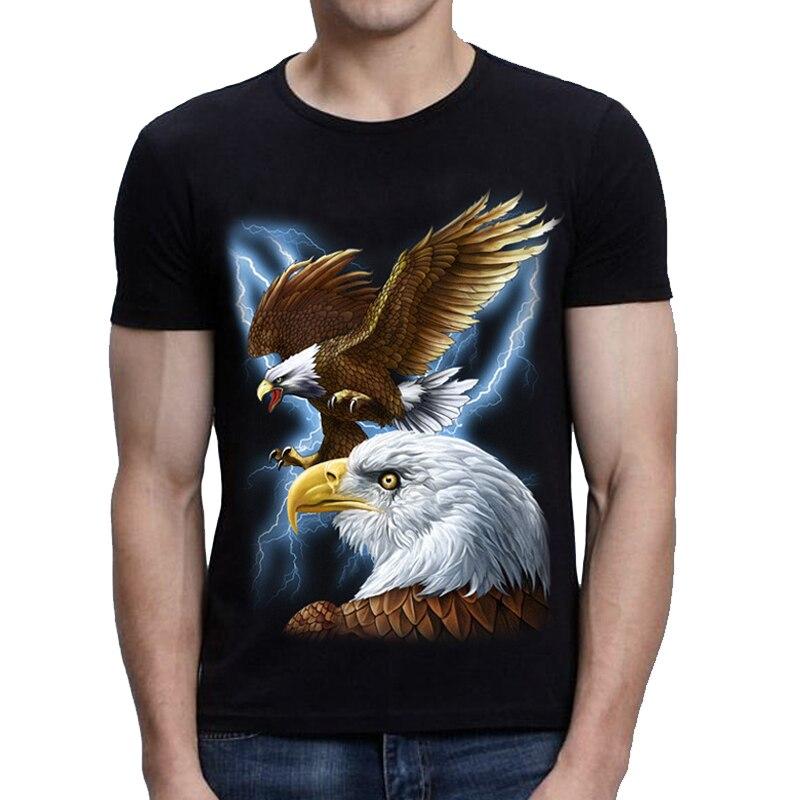Новинка 2020, футболка с 3D принтом орла, 100% хлопок, Мужская Черная 3d футболка, хип-хоп повседневные футболки с коротким рукавом размера плюс
