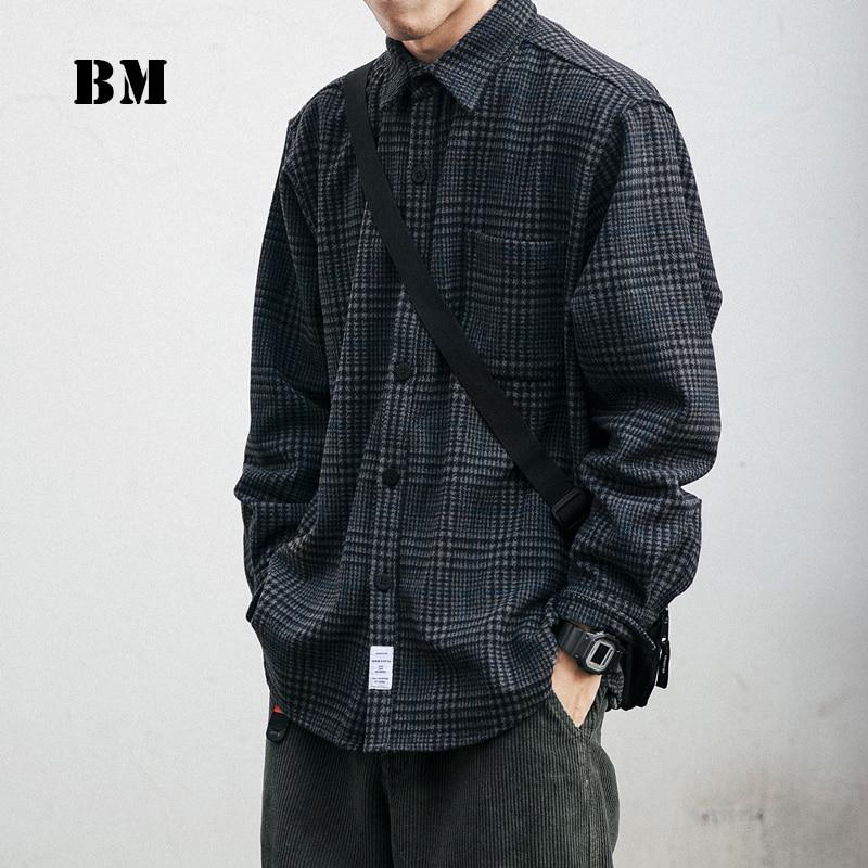 قميص رجالي من الصوف السميك عالي الجودة موضة 2021 ، ملابس الشارع الياباني ، بلوزة بأكمام طويلة غير رسمية منقوشة ، معاطف هاراجوكو للذكور