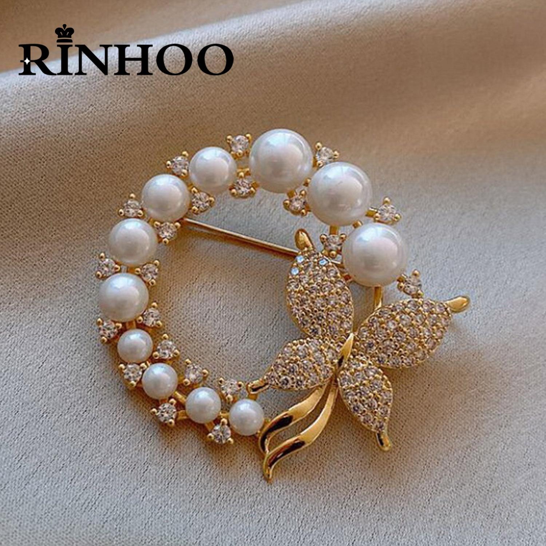 Rinhoo New Pearl Rhinestone Wreath Butterfly Brooch for Women Baroque Trendy Elegant Circle Leaf Pins Party Wedding Gifts
