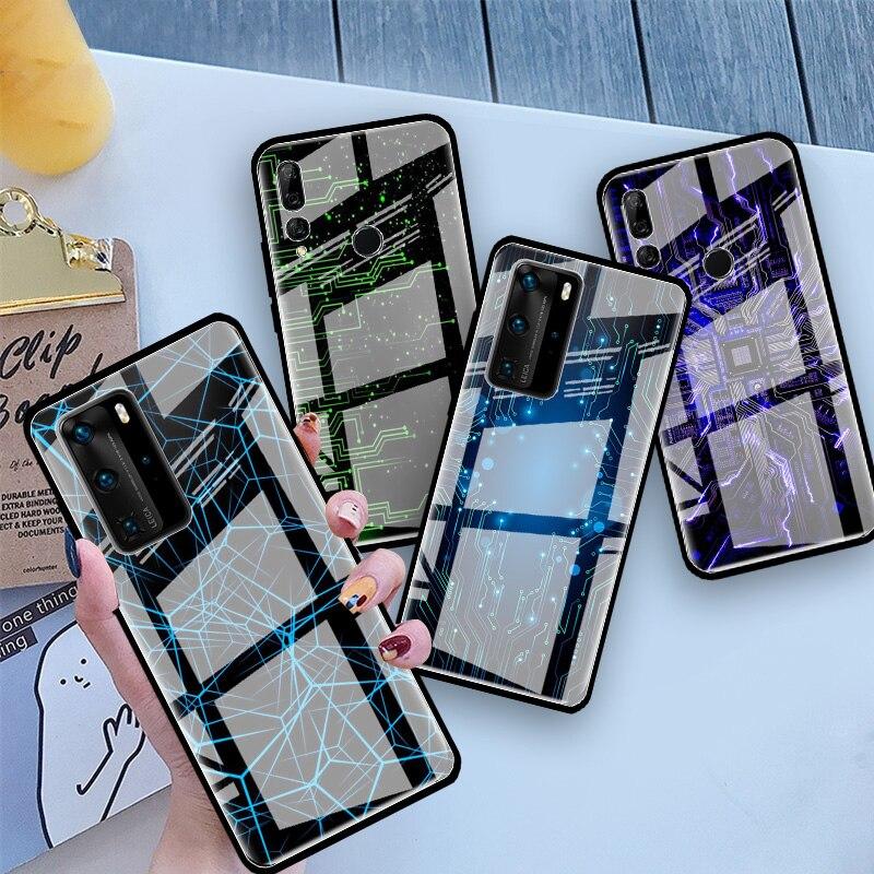 Funda de cristal de circuito tecnológico para Huawei Honor 30S 20 8X 9X Pro 10 Lite Y7 Y6 Y9 2019 View 30 Play 9A funda para teléfono