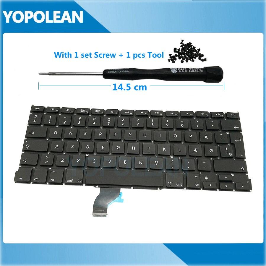 "New Denmark Danish Standard Keyboard For Macbook Pro Retina 13"" A1502 2013 20014 2015 Free Screw & Tool"