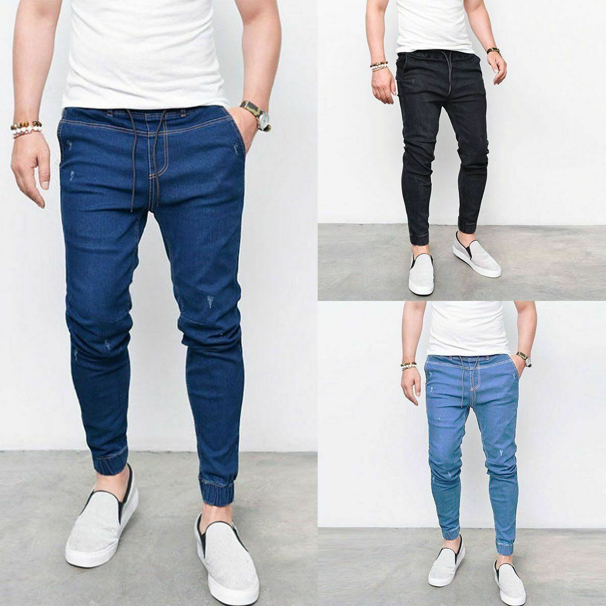 Самые дешевые джинсы, рабочие брюки, узкие джинсы, облегающие рваные джинсы, большие и высокие эластичные синие джинсы для мужчин, потертые ...