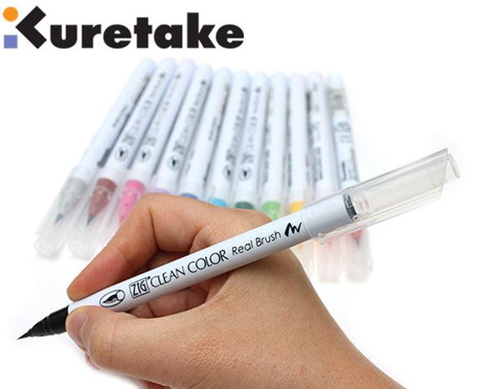 1 шт. Япония Zig Kuretake RB-6000AT чистый цвет настоящая кисть мягкий наконечник для комиксы рисунок акварельные ручки 90 цветов на выбор