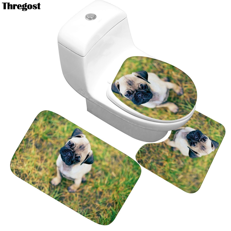 Zwierząt drukowane dywan chłonący wodę łazienka antypoślizgowa mata do kąpieli dywanik do toalety dywanik łazienkowy 3 sztuk Toiletmat 3d dywany