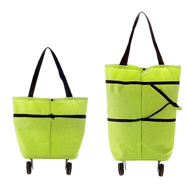 Saco portátil do trole de compras oxford compressão sacola carrinho de compras reutilizável sacos de compras rodas rolando organizadores de compras