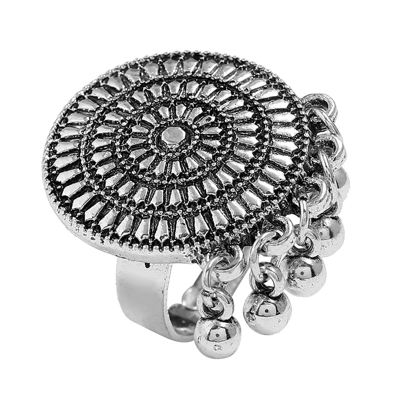 Boho Vintage Punk aleación Color plateado anillos Midi para mujeres/hombres bohemio anillo pequeño campanas borla anillo playa fiesta joyería