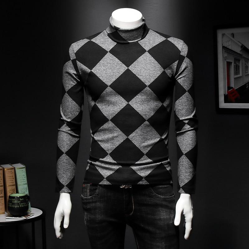 Camiseta real para hombre, jersey de cuello alto para invierno, camisetas a cuadros, camisetas Vintage para hombre, camisetas ajustadas para hombre, camiseta de manga larga, Top