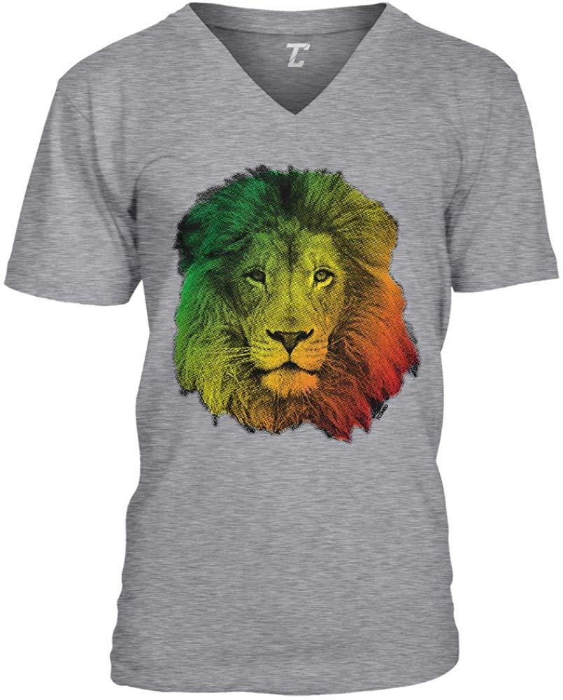 Cara de león Rasta-jamaicano Jah Power Unisex v-cuello camiseta Unisex hombres mujeres camiseta