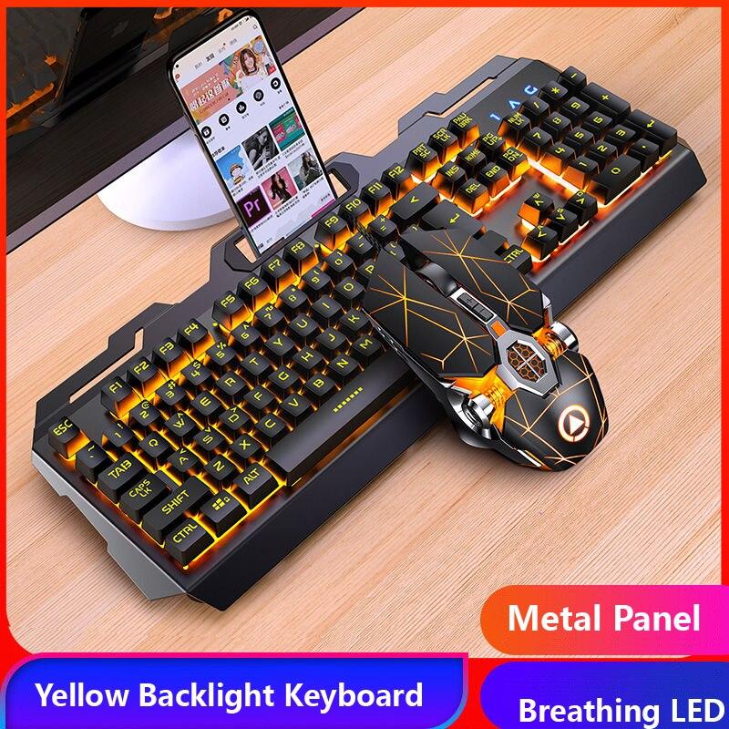 لوحة مفاتيح ألعاب ميكانيكية بإضاءة خلفية RGB LED ، فأرة ألعاب سلكية USB للكمبيوتر الشخصي والكمبيوتر المحمول