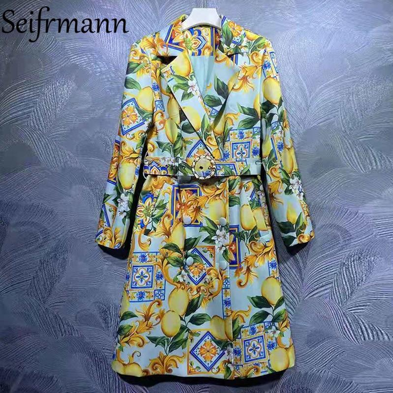 Seifrmann جديد 2021 الخريف المرأة مصمم الازياء معطف واقٍ من المطر كم طويل وشاحات مزدوجة الصدر الأزهار المطبوعة معاطف معطف