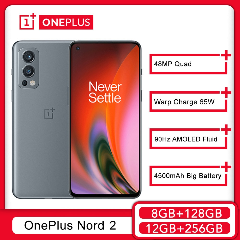 Смартфон глобальная версия OnePlus Nord 2, 8 ГБ, 128 ГБ, 50 МП, AI камера OIS, MTk Dimensity, 1200-AI, основозарядка 65 Вт